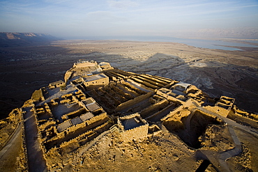 Aerial view of the ruins of the northern Palace of the archeologic site of Masada build by Herod the Great between 37 BC to 31 BC, Israel