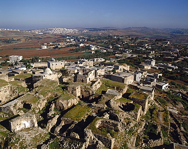 Aerial view of the ancirent city of Jaba, Israel