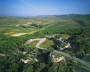 Aerial photograph of Sebastia's city gates, Israel
