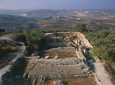 Aerial ruins of a temple in the ancient city of Sebastia, Israel