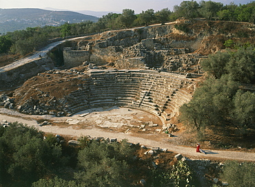 Aerial ruins of the amphitheater in the ancient city of Sebastia, Israel