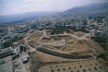 Aerial photo of the ruins of the Roman city of Flavia Neapolis in the modern city of Nablus, Israel
