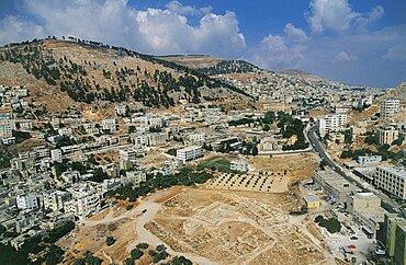 Aerial ruins of Tel Balata in the modern town of Nablus, Israel