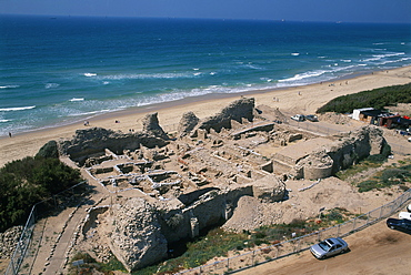 Aerial view of the ruins of Ashdod-Yam in the Coastal plain, Israel