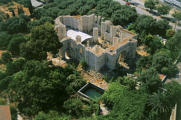 Aerial photograph of a ruined Church at the traditional location of Jacob's Well, Israel