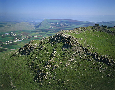 Aerial view of the battlefield at the Horn of Hattin in the Lower Galilee, Israel