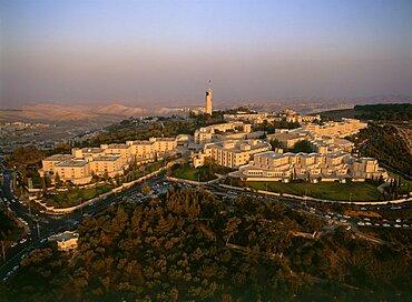 Aerial Hebrew University on the summit of mount Scopus in Eastern Jerusalem, Israel