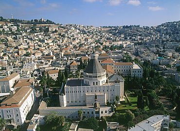 Aerial Church of the Annunciation in the modern city of Nazareth in the Lower Galilee, Israel