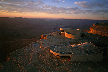 Aerial photograph of Mitz'pe Ramon's visitor center at sunrise, Israel