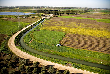 Aerial photograph of an open canal in the northern Sharon, Israel