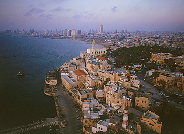 Aerial old city of Jaffa at sunset, Israel