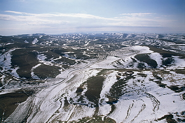 Aerial photograph of the snowy hills of Judea, Israel