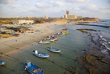 Aerial photograph of the coastline of Givat Olga in the Coastal plain, Israel
