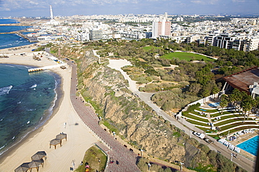 Aerial photograph of the coastline of Northern Tel Aviv, Israel