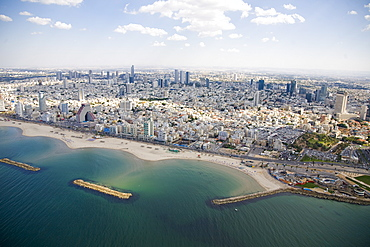Aerial photograph of the southern coast of Tel Aviv, Israel
