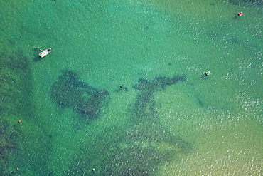 Aerial photograph of the shalow water of the Mediterranean sea, Israel