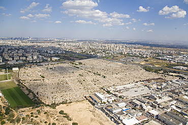 Aerial photograph of the civilian cemetery of Holon in the southern Dan Metropolis, Israel