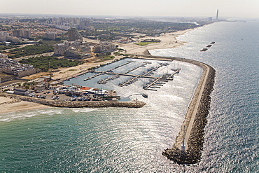 Aerial photograph of the Marina of the city of Ashkelon in the southern Coastal Plain, Israel