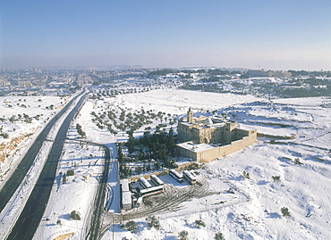 Aerial photograph of the Mar Elias Monastery in Judea, Israel