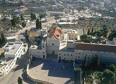Aerial photograph of the Dir Karmizan monastery in the judean village of Beit Jala, Israel