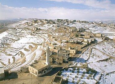 Aerial photograph of an arab village in Judea, Israel