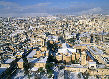 Aerial photograph of the church of the Nativity in Bethlehem Judea, Israel