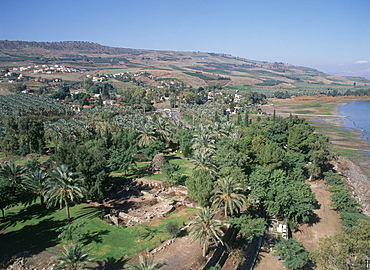 Aerial photograph of Tel Beit Yerah near the Sea of Galilee, Israel