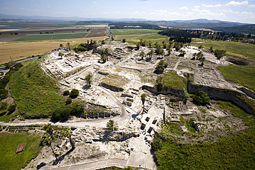 Aerial archeologic site of Megido in the Jezreel valley, Israel