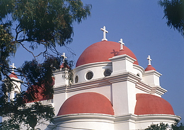 Photograph of a Greek orthodox church by the Sea of Galilee, Israel