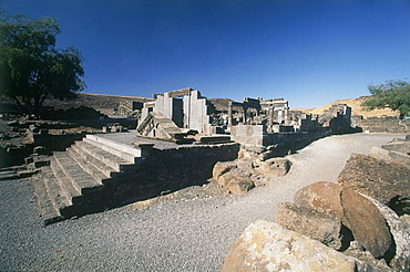 Photograph of the ruins of the ancient synagouge of Korazimnear the Sea of Galilee, Israel
