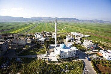 Aerial arab village of Romana in the lower Galilee, Israel