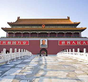 Main entrance to The Forbidden City, with Chairman Mao Tsedong's portrait hanging above the doorway, Beijing, China, Asia
