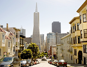 The Transamerica Tower Pyramid in the financial district of downtown San Francisco, California, United States of America, North America