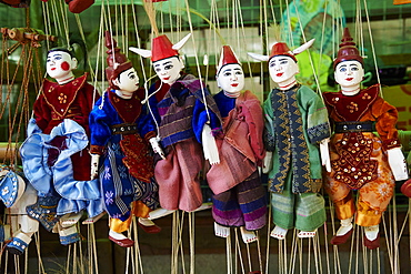 Traditional dolls for sale in the market, Bagan (Pagan), Myanmar (Burma), Asia