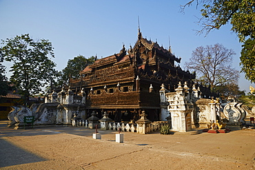 Kyaung Shwe In Bin teakwood temple and monastery, Mandalay, Myanmar (Burma), Asia