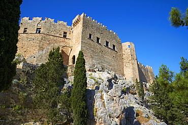 Lindos Acropolis. Lindos, Rhodes, Dodecanese, Greek Islands, Greece, Europe