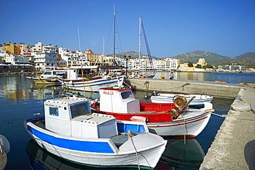 Hora, harbour, Pigadia, Karpathos Island, Dodecanese, Greek Islands, Greece, Europe