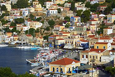Gialos harbour, Symi, Dodecanese, Greek Islands, Greece, Europe
