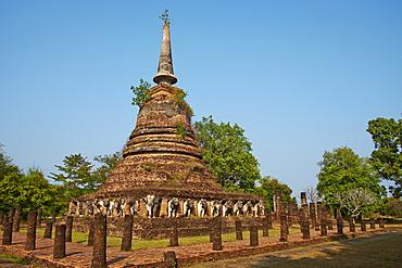 Wat Chang Lom, Sukhothai Historical Park, UNESCO World Heritage Site, Sukhothai, Thailand, Southeast Asia, Asia