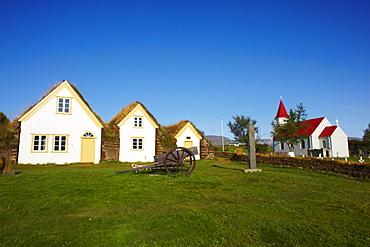 Traditional farm of Glaumbaer around Varmahlid, Iceland, Polar Regions