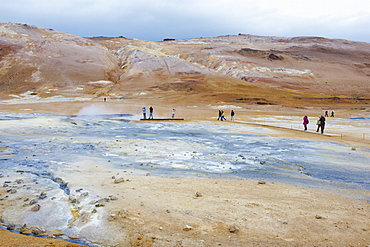 Hverir geothermal fields at the foot of Namafjall mountain, Myvatn Lake area, Iceland, Polar Regions