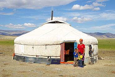 Nomadic Kazakh family and their yurt, Region of Bayan Ulgii, Mongolia, Central Asia, Asia