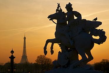 Place de la Concorde and Eiffel Tower, Paris, France, Europe