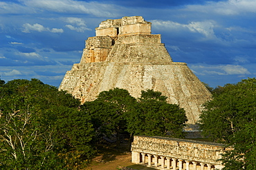 Pyramid of the Magician and The Ball Game Field, Mayan archaeological site, Uxmal, UNESCO World Heritage Site, Yucatan State, Mexico, North America