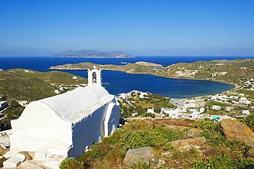 Church above Chora, Ios Island, Cyclades, Greek Islands, Greece, Europe