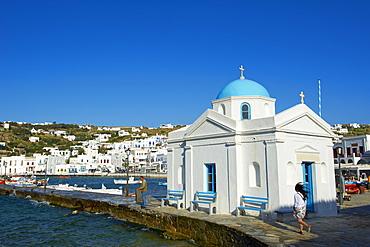 Blue church and old harbour, Mykonos Town, Chora, Mykonos Island, Cyclades, Greek Islands, Greece, Europe