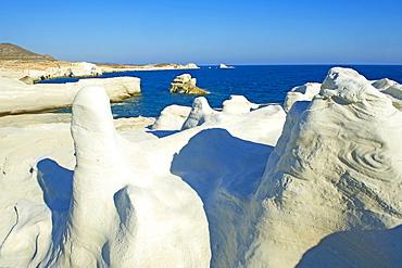 Sarakiniko lunar landscape, Sarakiniko beach, Milos, Cyclades Islands, Greek Islands, Aegean Sea, Greece, Europe