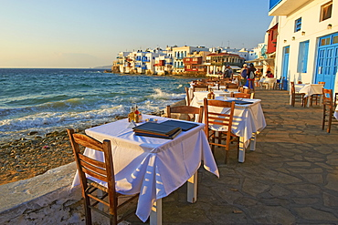 Little Venice, Alefkandra district, The Chora (Hora), Mykonos, Cyclades Islands, Greek Islands, Aegean Sea, Greece, Europe
