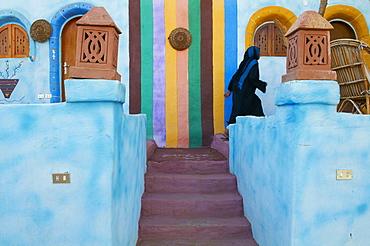 Nubian painted village near Aswan, Egypt, North Africa, Africa