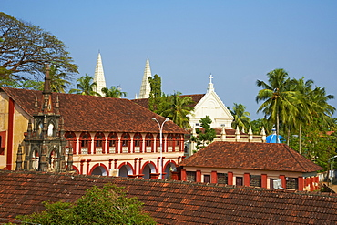 Santa Cruz Basilica and colonial style college, Fort Cochin, Kerala, India, Asia